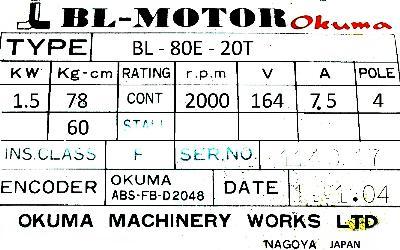 Okuma BL-80E-20T label image