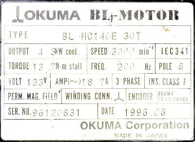 Okuma BL-MC140E-30T label image