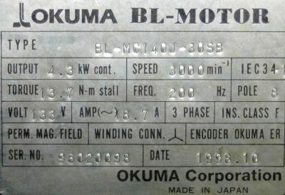 Okuma BL-MC140J-30SB label image