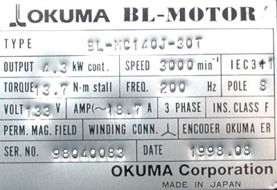 Okuma BL-MC140J-30T label image