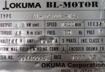 New Refurbished Exchange Repair  Okuma Motors-AC Servo BL-MC400E-12S Precision Zone