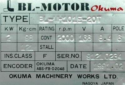 Okuma BL-MH101E-20T label image