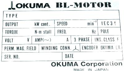 Okuma BL-MP500J-20SB label image