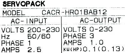 New Refurbished Exchange Repair  Yaskawa Drives-AC Servo CACR-HR01BAB12 Precision Zone