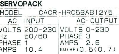 Yaskawa CACR-HR05BAB12-Y5 label image