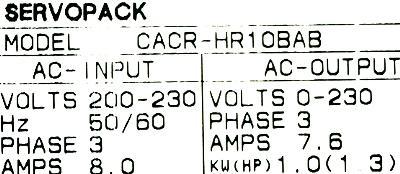 Yaskawa CACR-HR10BAB label image