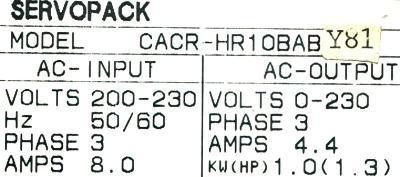Yaskawa CACR-HR10BAB-Y81 label image