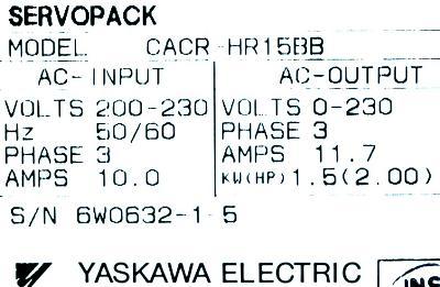 Yaskawa CACR-HR15BB label image