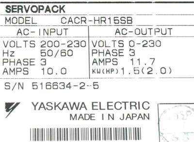 Yaskawa CACR-HR15SB label image