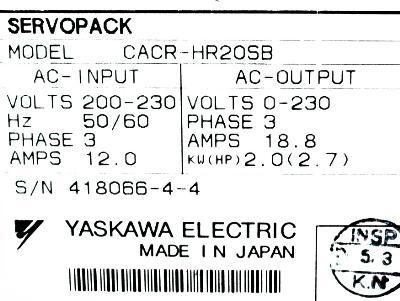 Yaskawa CACR-HR20SB label image
