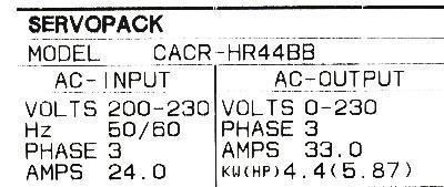 Yaskawa CACR-HR44BB label image