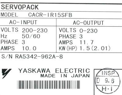 Yaskawa CACR-IR15SFB label image