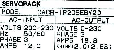 Yaskawa CACR-IR20SEB-Y20 label image