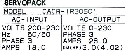 Yaskawa CACR-IR30SC1 label image