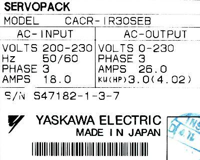 Yaskawa CACR-IR30SEB label image
