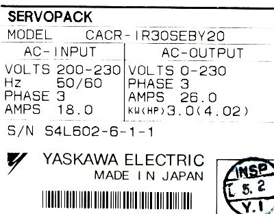 Yaskawa CACR-IR30SEB-Y20 label image