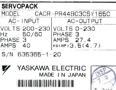 Yaskawa CACR-PR44BC3CS-Y165C label image