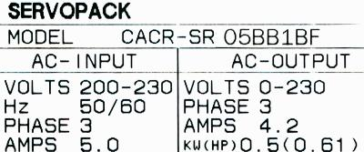 Yaskawa CACR-SR05BB1BF label image