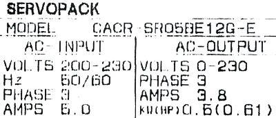 Yaskawa CACR-SR05BE12G-E label image