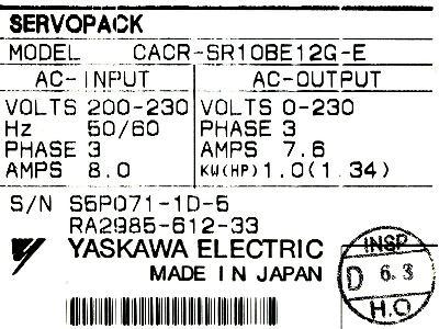 Yaskawa CACR-SR10BE12G-E label image