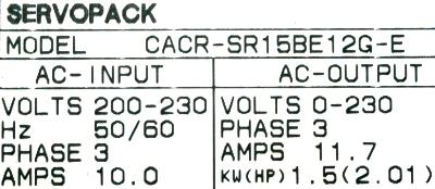 Yaskawa CACR-SR15BE12G-E label image