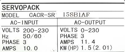 Yaskawa CACR-SR15SB1AF label image