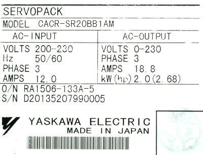 Yaskawa CACR-SR20BB1AM label image
