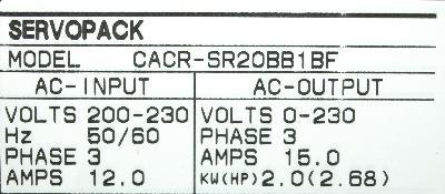 Yaskawa CACR-SR20BB1BF label image