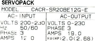 Yaskawa CACR-SR20BE12G-E label image