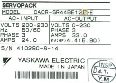 Yaskawa CACR-SR44BE12F-E label image