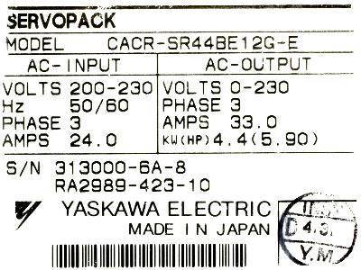 Yaskawa CACR-SR44BE12G-E label image