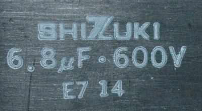 Shizuki CAP-600V-6.8UF-50-122-71 label image