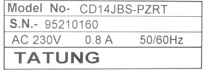 TATUNG CD14JBS-PZRT label image