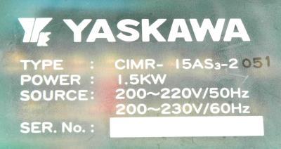 Yaskawa CIMR-15AS3-2 label image