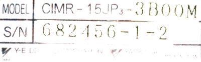 Yaskawa CIMR-15JP3-3BOOM label image