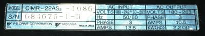 Yaskawa CIMR-22AS3-1086 label image