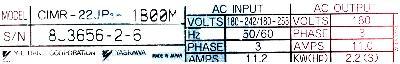 Yaskawa CIMR-22JP3-1BOOM label image