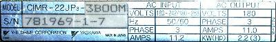 Yaskawa CIMR-22JP3-3BOOM label image