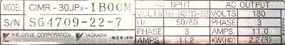 Yaskawa CIMR-30JP3-1BOOM label image