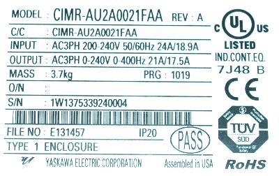Yaskawa CIMR-AU2A0021FAA label image