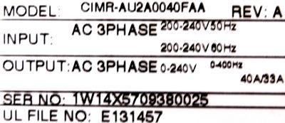 Yaskawa CIMR-AU2A0040FAA label image