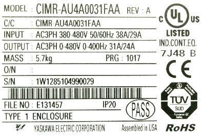 Yaskawa CIMR-AU4A0031FAA label image