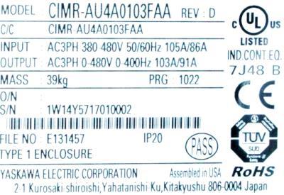 Yaskawa CIMR-AU4A0103FAA label image