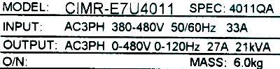 Yaskawa CIMR-E7U4011 label image