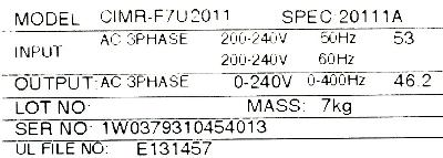 Yaskawa CIMR-F7U2011 label image