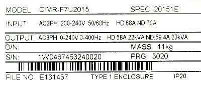 Yaskawa CIMR-F7U2015 label image