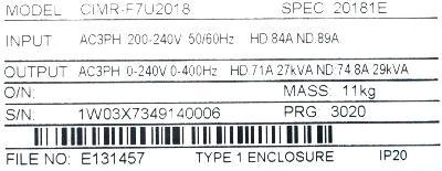 Yaskawa CIMR-F7U2018 label image