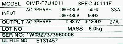 Yaskawa CIMR-F7U4011 label image