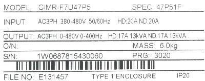 Yaskawa CIMR-F7U47P5 label image
