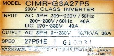 Yaskawa CIMR-G3A27P5 label image